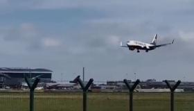 Watch | Ryanair flight tries to land in Dublin Airport during Storm Ali