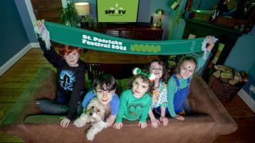 Arlo Screenan (age 9), Noah Connolly (age 9), Lily Blighe (age 4), Aisling Blighe (age 7), Maisie Connolly (age 7) and Nelly the dog (all from Dublin 8) go green as they get set for the launch of St.