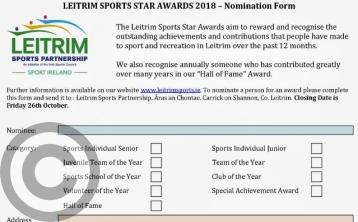 Closing date for nominations for 2018 Leitrim Sports Star Awards is this Friday October 26