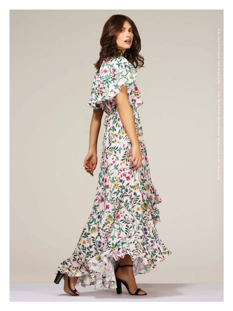 9dfc526fe66ae V by Very Frill Floral Maxi Dress €75. V by Very Petals Block Heel Sandal  with Ankle Strap €35.