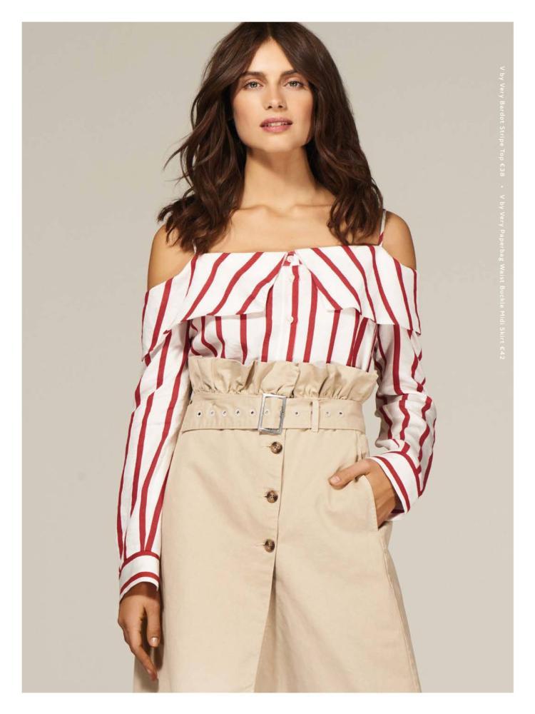 8c1fe50005776 V by Very Bardot Stripe Top €38. V by Very Paperbag Waist Buckle Midi Skirt  €42.