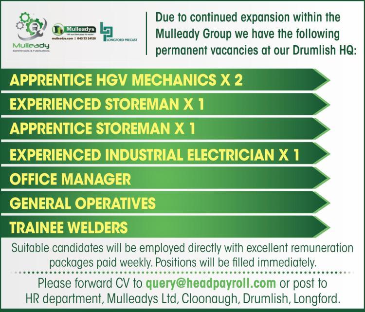 Leitrim Observer Jobs Alert: Mulleady Group have permanent