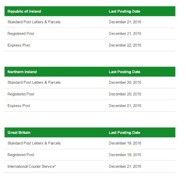 Christmas Posting Dates 2016 Leitrim Observer Final Ireland Standard Letters