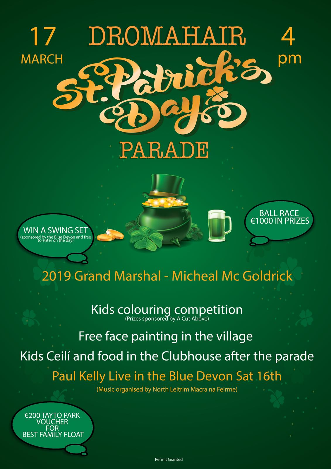 Micheal McGoldrick to lead Dromahair St Patrick's Day parade
