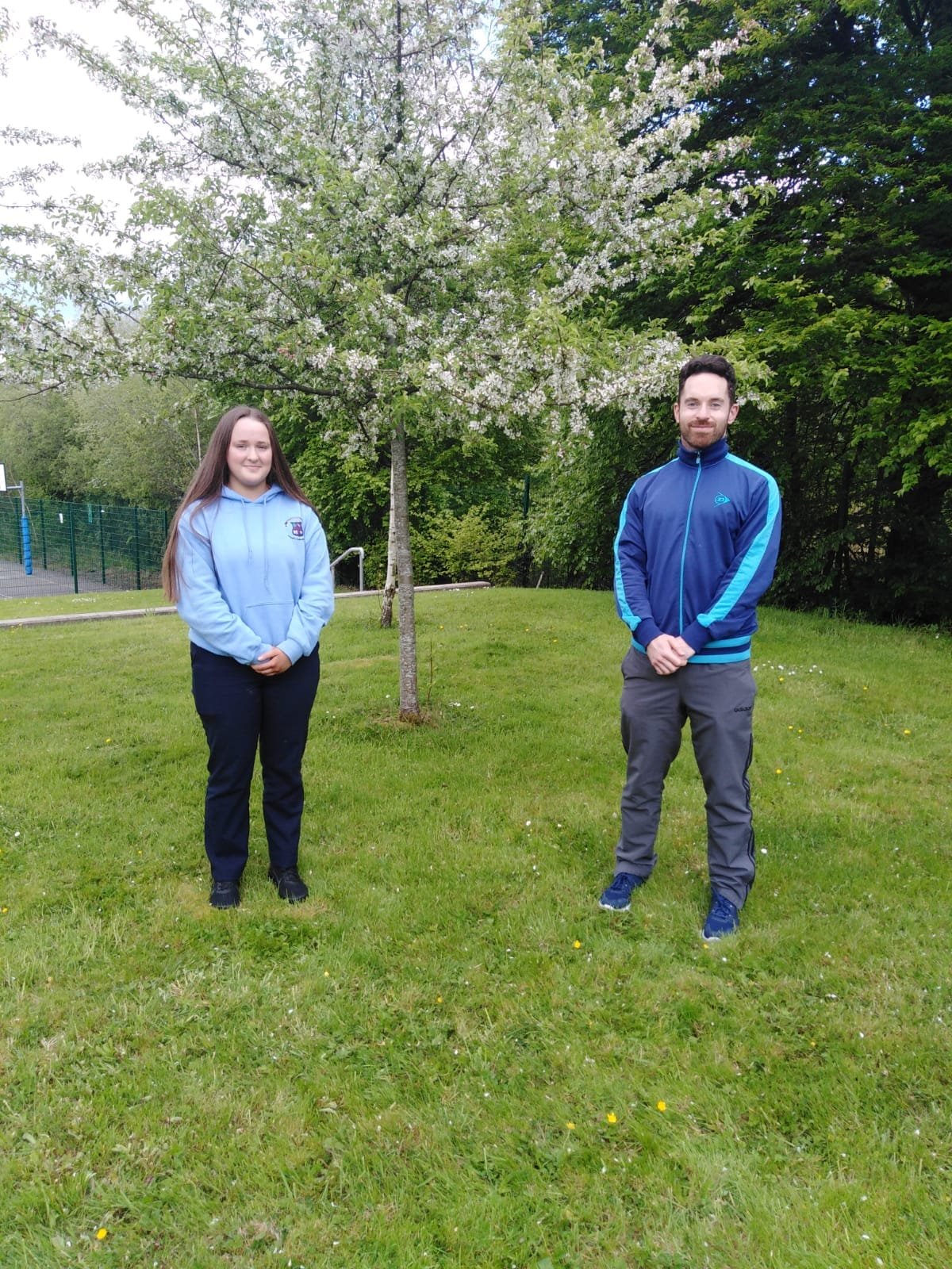 Emma Geoghan with teacher Mr Slevin